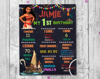 Moana birthday chalkboard Custom first birthday sign First birthday moana Chalkboard stats Custom digital file Moana birthday  1st birthday