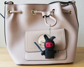 Kawaii plush bunny ninja keychain