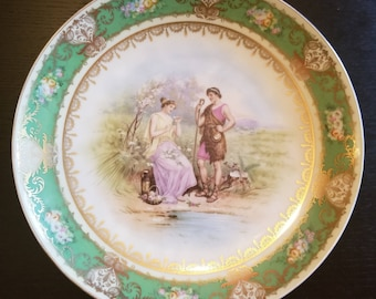 Imperial Crown China Austria Plate - Shepherd and Maiden