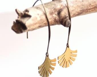 Brass fan earrings