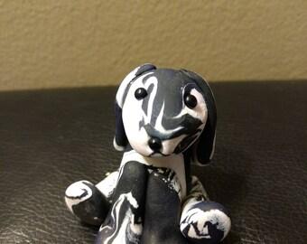 Handmade Polymer Clay White/Black Dog