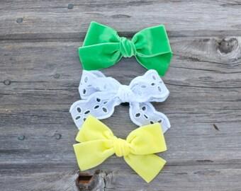St. Patrick's Bow SET - Oversized - Large - hand tied - Schoolgirl - velvet bow- baby - alligator hair clip - nylon headband -ADDILYN STYLE