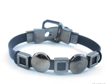 Black Leather Trendy Bracelet/Cool Bracelet/Birthday/Boyfriend/Graduation/Anniversary Gift for Him