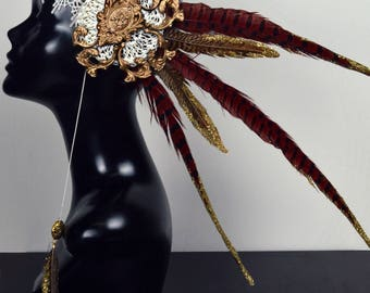 White gold red festival headpiece