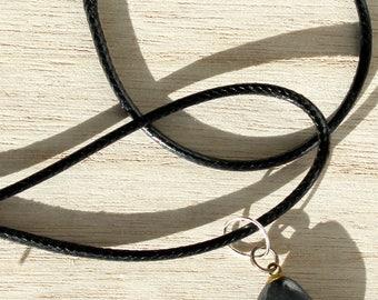 Hematite on black cord