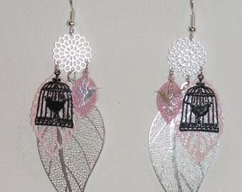 Leaf earrings, flowers, prints, bird, silver, black earrings, pastel pink dangle earrings, spring jewelry