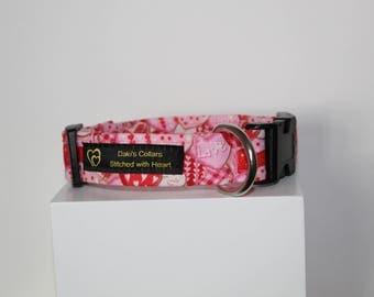 Be my Valentine's dog collar, handmade dog collar, custom dog collar, st valentine dog collar