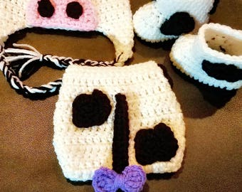 Crochet Cow Hat Boots and Diaper Cover