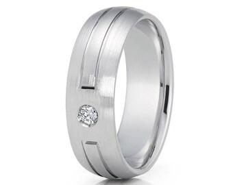 White Gold Wedding Band 14k White Gold Ring Men & Women Anniversary Ring White Diamond Wedding Band Comfort Fit Ring