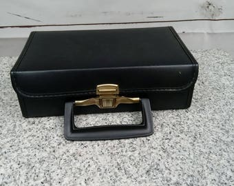Vintage Cassette Tape Storage Small Black Box Brief Case With Handle 10 Slots