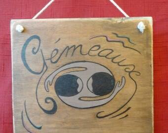 """Sign """"Gemini"""" Zodiac wooden door sign"""