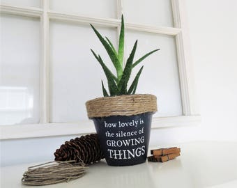 How lovely is the silence of growing thing. Plant pun pot.  Funny plant pot. Succulent Planter. Indoor Planter. Christmas gifts. Cactus Pot.