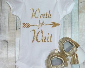 Worth The Wait Baby Glitter, Newborn Girl, Newborn Boy, Handmade, Personalized, Newborn, Baby, Unisex, Gender Neutral