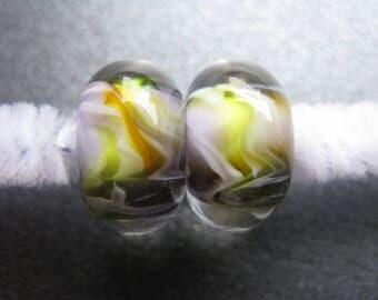 Lampwork Beads Pair, Handmade Lampwork Pair, Lampwork Pair, OOAK, Yellow, Orange, Violet, White, Artisan Handmade Lampwork Beads - HGD711