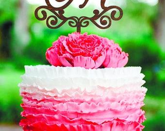 Wedding cake topper Letter M cake topper M Gold monogram cake topper wood Initial Cake topper gold rustic cake topper Unique Cake Topper M S