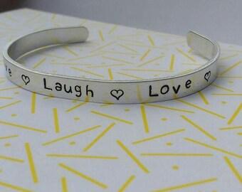 Hand stamped jewellery /  aluminium / cuff bracelet / personalised gift / metal stamped jewellery / UK
