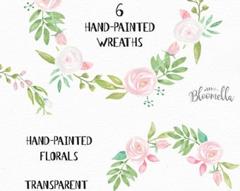 6 Watercolour Union Wedding White Floral Wreaths Clipart INSTANT DOWNLOAD Green Leaves Hand-painted Pink Garlands Clip Art PNGs Digital Leaf