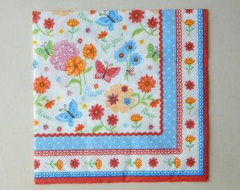 2 serviettes papier fleurs et papillons multicolores