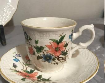 Vintage Flat Cup and Saucer Set Mikasa Renaissance Monique