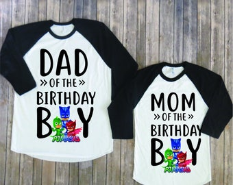 Mom and Dad of birthday boy- PJ Mask version, Pj mask birthday shirt, Pj mask family, pj mask party, pj mask theme, pj mask mom, pj mask dad