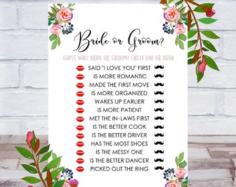 Bride Or Groom, Bridal Shower Games, Printable, Who Said It, He Said She Said, Guess Who, Cards, Size 5x7, Roses, Instant DIGITAL DOWNLOAD