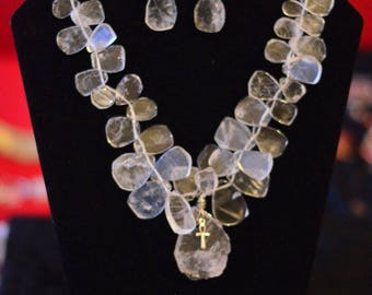 Statement Clear Quartz Petals Necklace Set