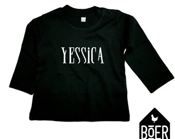 Baby shirt long sleeve: [NAME] / black / 3-6 months / 6-12 months.