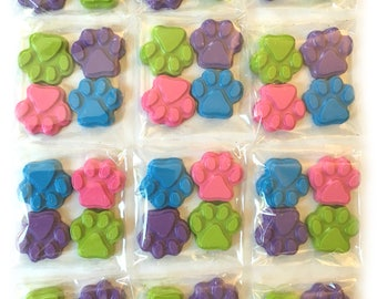 48 Pastel Paw Print Crayons - Birthday Party Favors - 12 Sets of 4 Crayons