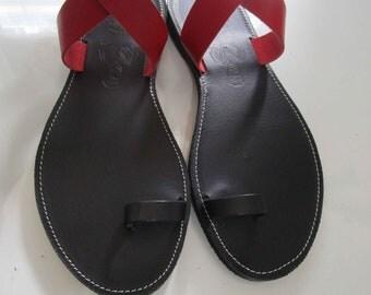 Sandals Women's,Womens Sandals,Handmade Sandals Leather Sandals,Red-Black Sandals,Greek Sandals,Ladies Sandals,BELLE HELENE Rouge Noir