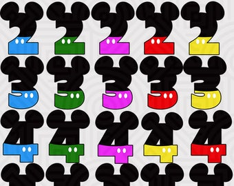 Clipart Pack mickey mouse number PNG
