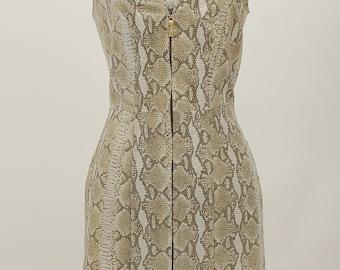 Esotica Pelle Vintage Real Snake Skin Leather Zip Down Front Dress Size 8
