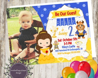 Beauty and the Beast Birthday Invitation, Belle, Beauty and the Beast Invite, Belle Invite, Princess Belle, Disney Princess, princess party