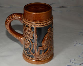 Vintage beer stein, beer mug, glazed mug, brown and black, made in Occupied Japan, 1940s, 1950s, in mint condition, relief