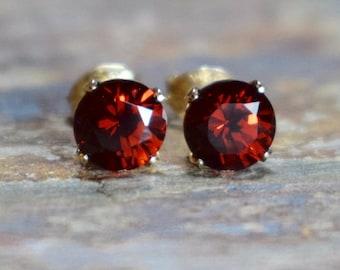 4mm Red Garnet Gold Earrings, Mozambique Garnet & 14k Gold Filled Studs, Natural Gemstone Jewellery UK, Gift for Wife