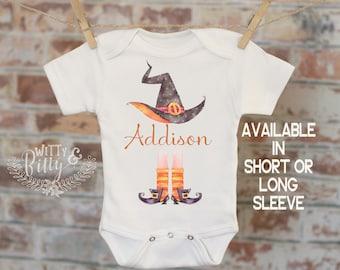 Halloween Witch Personalized Onesie®, Funny Onesie, Baby Shower Gift, Customized Onesie, Boho Baby Onesie, Witch Hat Onesie - 266A