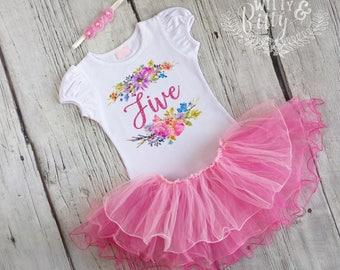 Glitter Fifth Birthday Outfit, 5th Birthday Outfit, Pink Glitter Outfit, Pink Tutu Birthday Outfit, Birthday Tutu Set - O410F