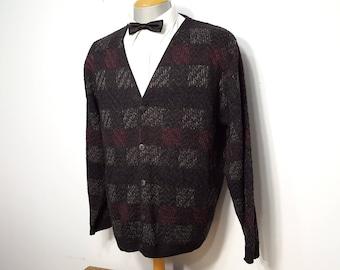 Vintage 80s Cardigan Men's XL Porto Bello Checkered Grandpa Boyfriend Sweater Shirt Made in Canada Button up Acrylic Warm Office Wear