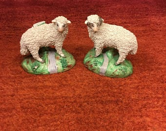 Antique Pair Staffordshire sheep, ram and ewe with full sanded (sieved) coats with original bottom marking stamps