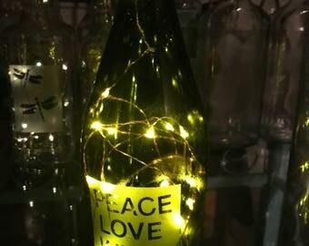 Peace Love Wine Bottle Lamp