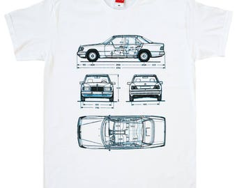 Mercedes Benz W124 tshirt vintage class E german car