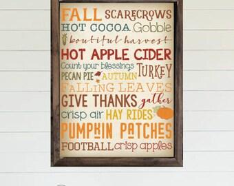 Fall Typography Word Art - PRINTABLE