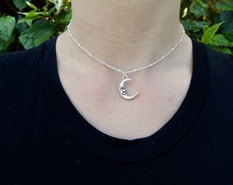 Silver Moon Charm with Beaded Chain, Choker