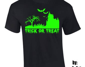 T-Shirt Trick Or Treat Halloween Costume Holidays Custom Shirt & Ink Color