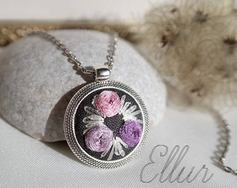 Embroidered pendant jewelry Purple mother gift Rose necklace Flower wife jewelry Nature lover gift Eco floral pendant Unusual present Fabric