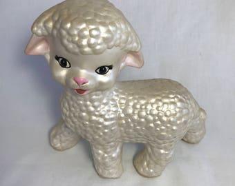 Kitschy Ceramic Lamb  Hand Painted Ceramic Lamb  Vintage Lamb Figurine  1970s White Hand Painted Lamb  Mid Century Modern Lamb Figure