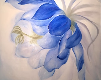 Midnight Flower II - Authentic Original Oil Painting on Canvas