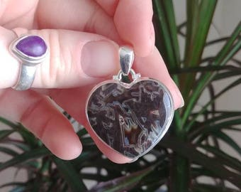 Heart shaped tube agate sterling silver pendant / one of a kind silver crystal necklace