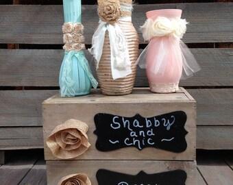 Shabby Chic Centerpiece Mint and Blush Vase Set