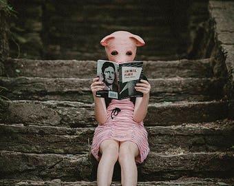 A fine art photo of pig/girl reading Animal Farm by George Orwell