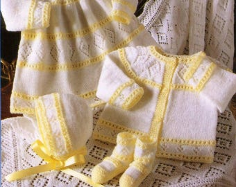 Baby Dress, Cardigan, Bonnet, Bootees and Shawl, Knitting Pattern, Instant Download.